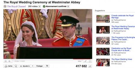 Mariage royal sur You Tube