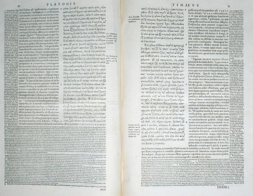 Page d'une édition imprimée de Platon datant de la Renaissance