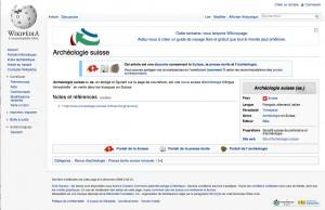 """Wikipédia """"Archéologie suisse"""""""