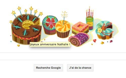 Page d'accueil de Google adaptée pour le jour anniversaire de l'utilisateur